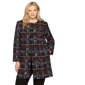 Nine West plaid print topper Bordeaux jacket